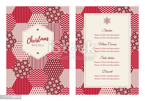 Christmas Menu Template with winter patchwork. Stock illustration