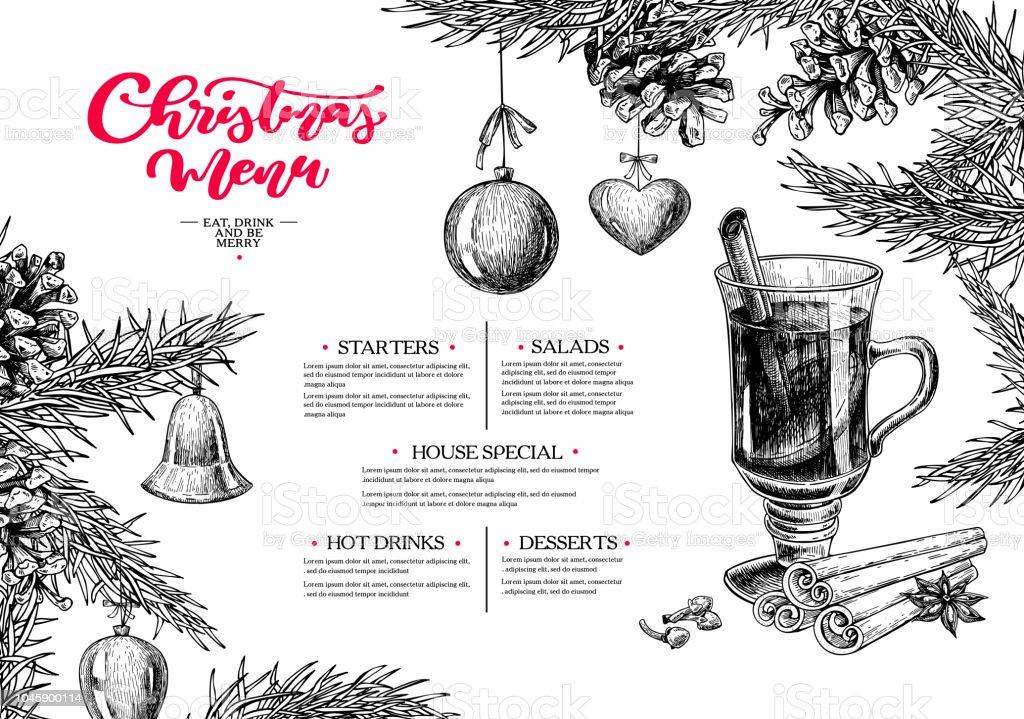 Weihnachtsmenü Winterrestaurant Und Café Sketchvorlage Vektor Von ...