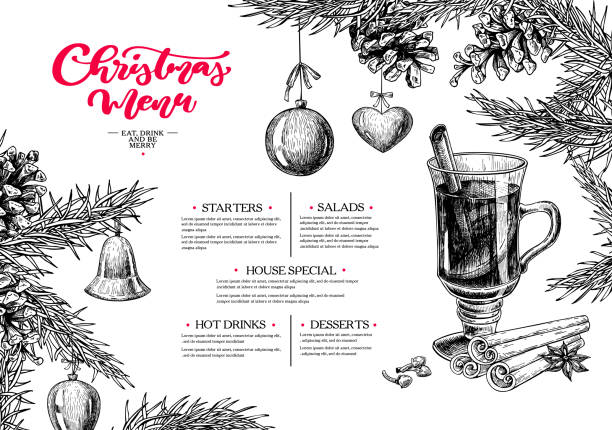 illustrazioni stock, clip art, cartoni animati e icone di tendenza di christmas menu. winter restaurant and cafe sketch template. vector hand drawn - cena natale