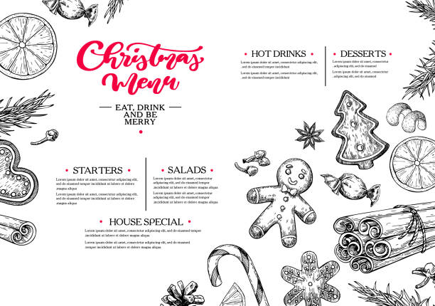 Christmas menu. Winter restaurant and cafe sketch template. Vector hand drawn Christmas menu. Winter restaurant and cafe sketch template. Vector hand drawn illustration with  pine cone, gingerbread man cookies, fir tree, candy and spices. Engraved traditional xmas food. christmas dinner stock illustrations