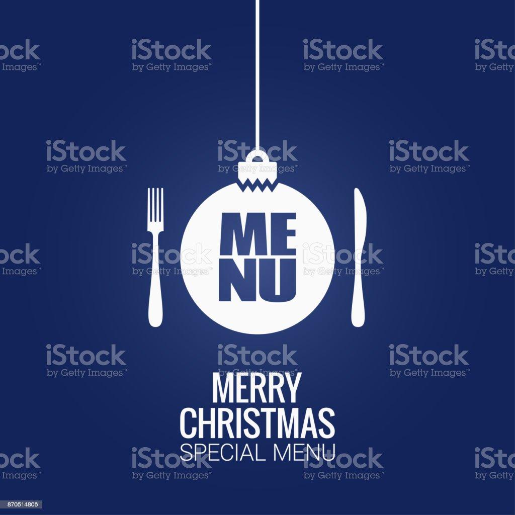 christmas menu with christmas ball, fork and knife design background - arte vettoriale royalty-free di Arredamento