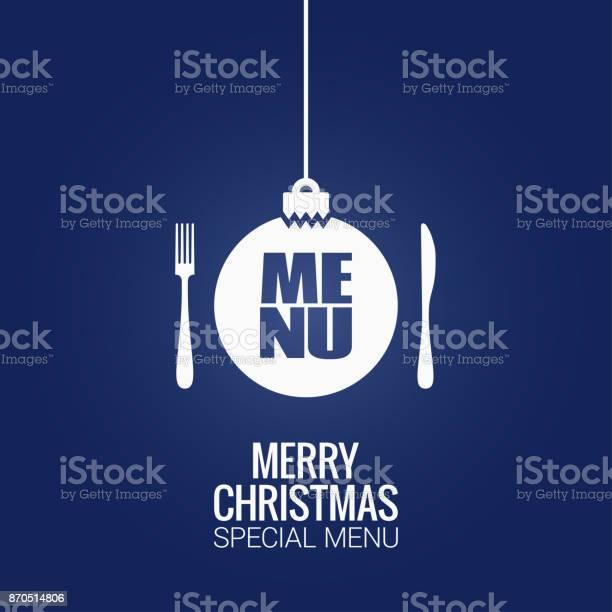 Christmas Menu With Christmas Ball Fork And Knife Design Background - Immagini vettoriali stock e altre immagini di Arredamento