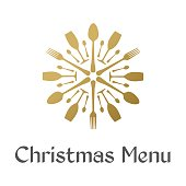 Christmas Menu with golden snowflake
