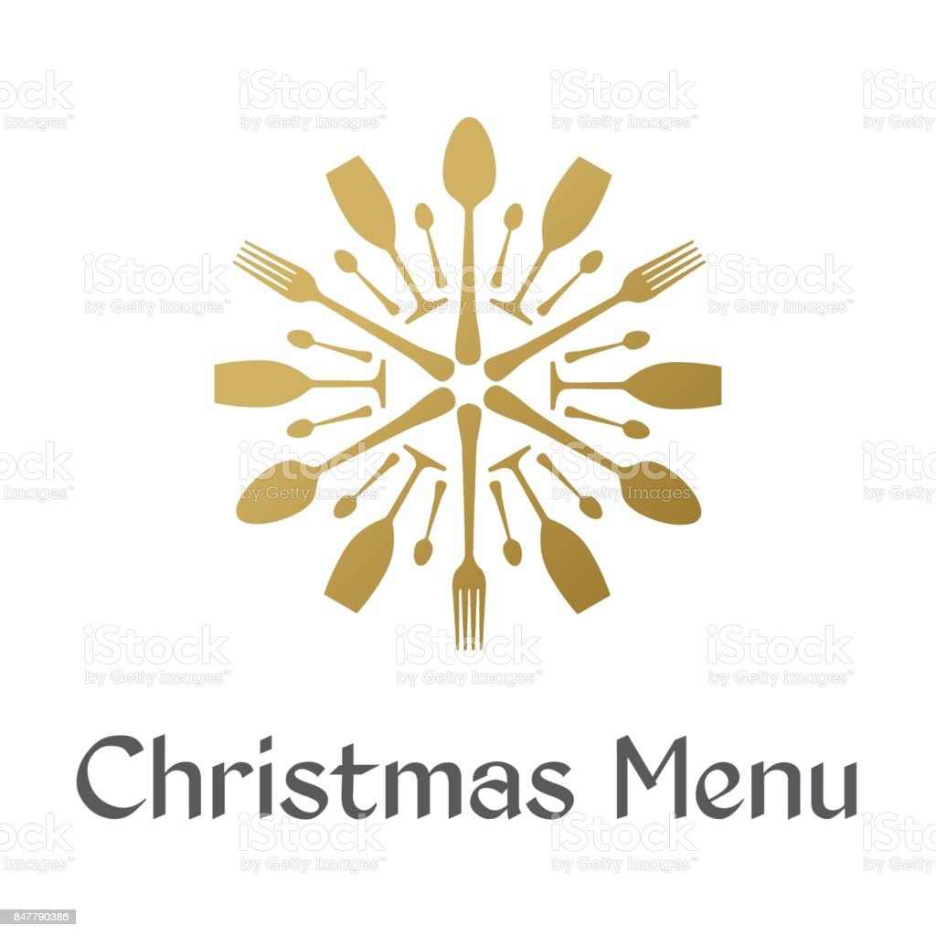 Menu de Noël avec le flocon d'or - Illustration vectorielle
