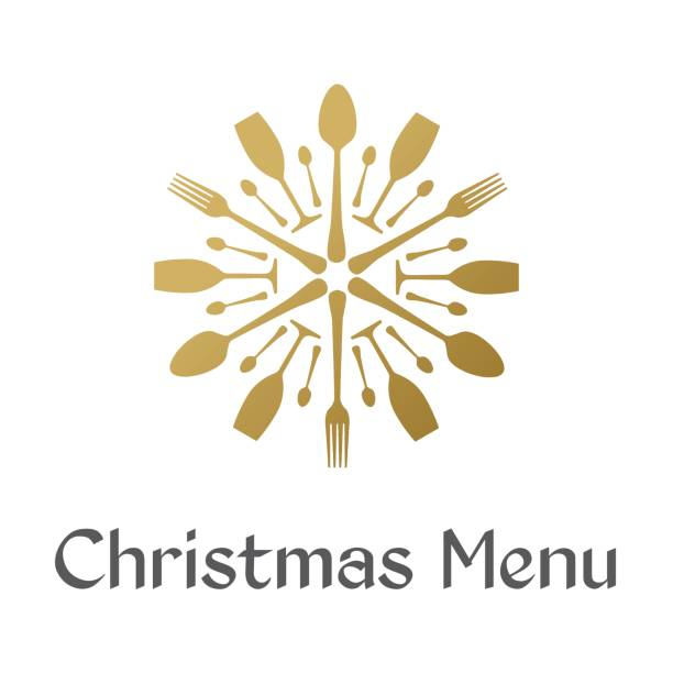 Menu de Noël avec le flocon d'or - Illustration vectorielle