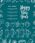 Christmas menu with hand drawn hot drinks. Sketch decoration for your design. Brush modern calligraphy. Vector illustration.