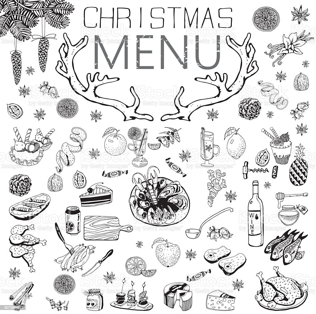 Christmas Menu with text . Winter Holiday theme. vector art illustration
