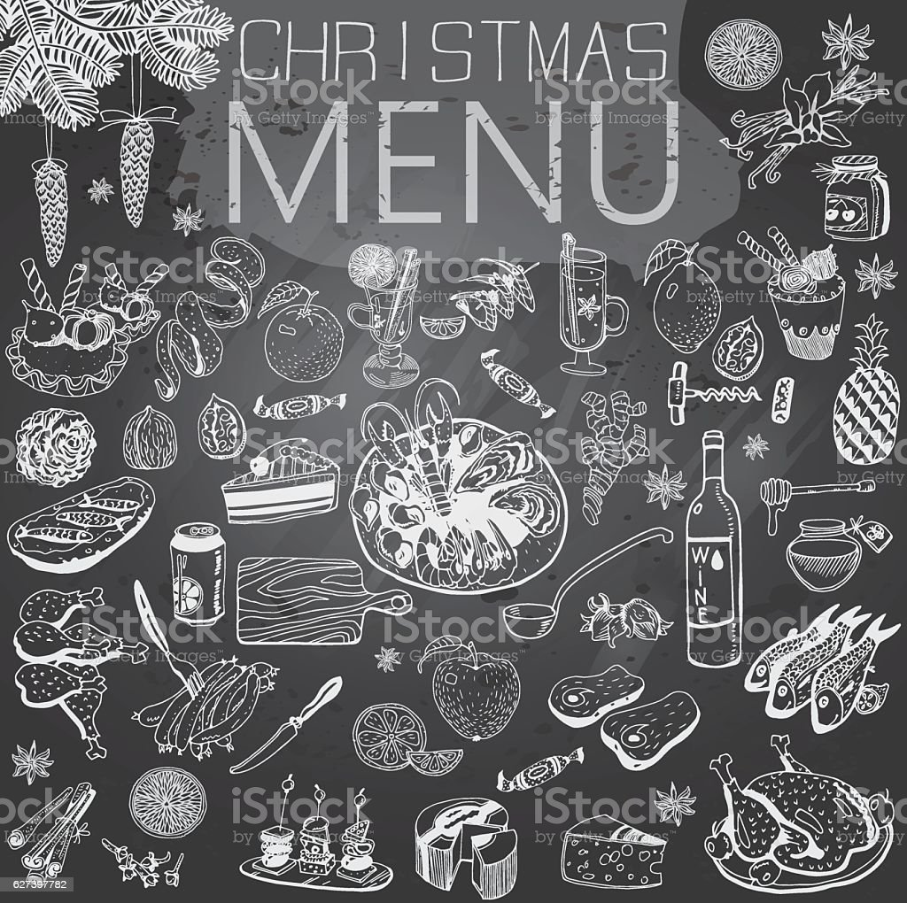 Christmas Menu with texture and text . Winter Holiday theme. vector art illustration