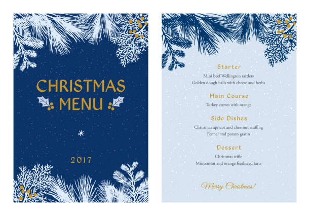 Christmas Menu with White Evergreen Silhouettes. vector art illustration