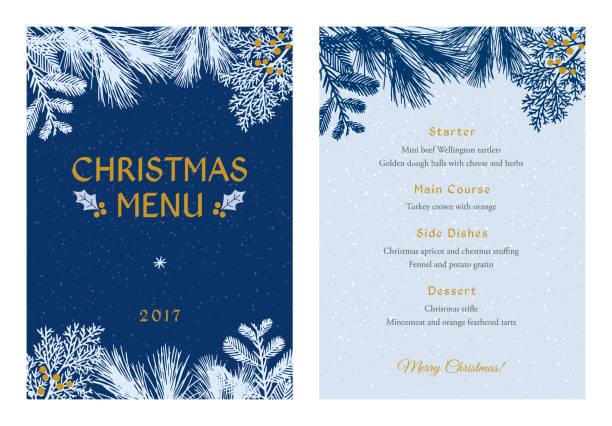 白い常緑シルエット クリスマス メニュー。 - ホリデーシーズンと季節のフレーム点のイラスト素材/クリップアート素材/マンガ素材/アイコン素材