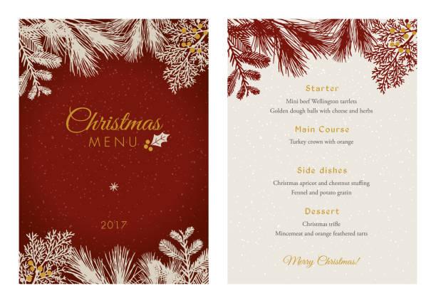 Menu de Noël avec des Silhouettes de feuilles persistantes blanches. - Illustration vectorielle