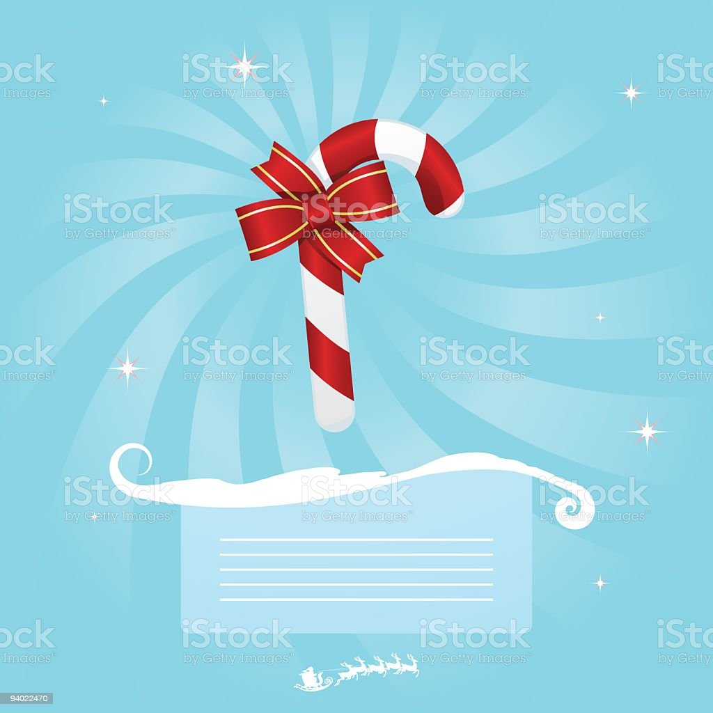 Christmas Message - Candy Cane royalty-free christmas message candy cane stock vector art & more images of backgrounds
