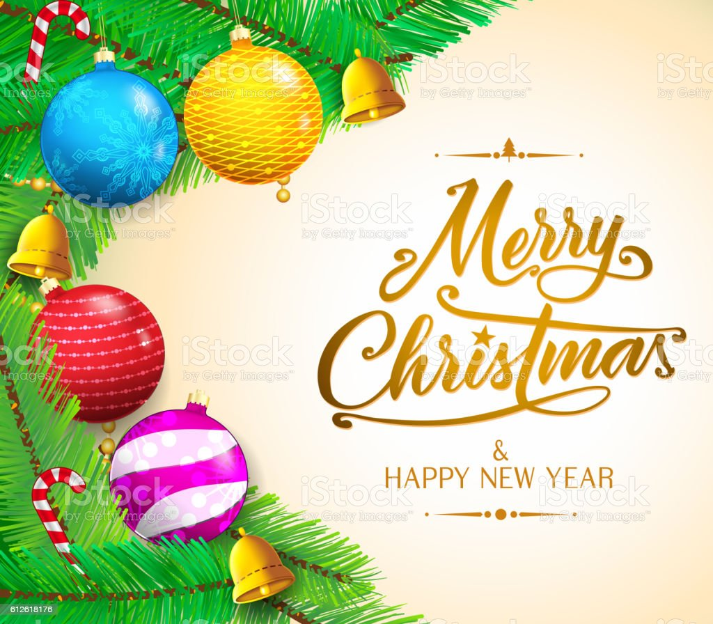 Christmas Messages And Colorful Objects On Gradient Background Stock ...