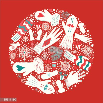 Christmas Mittens and Gloves. Christmas time. Design elements. Vector.