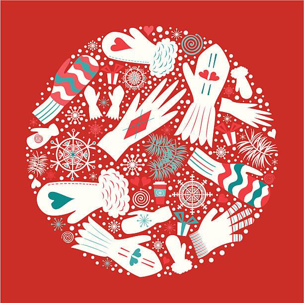 weihnachten und handschuhe-fäustlinge - bildkomposition und technik stock-grafiken, -clipart, -cartoons und -symbole