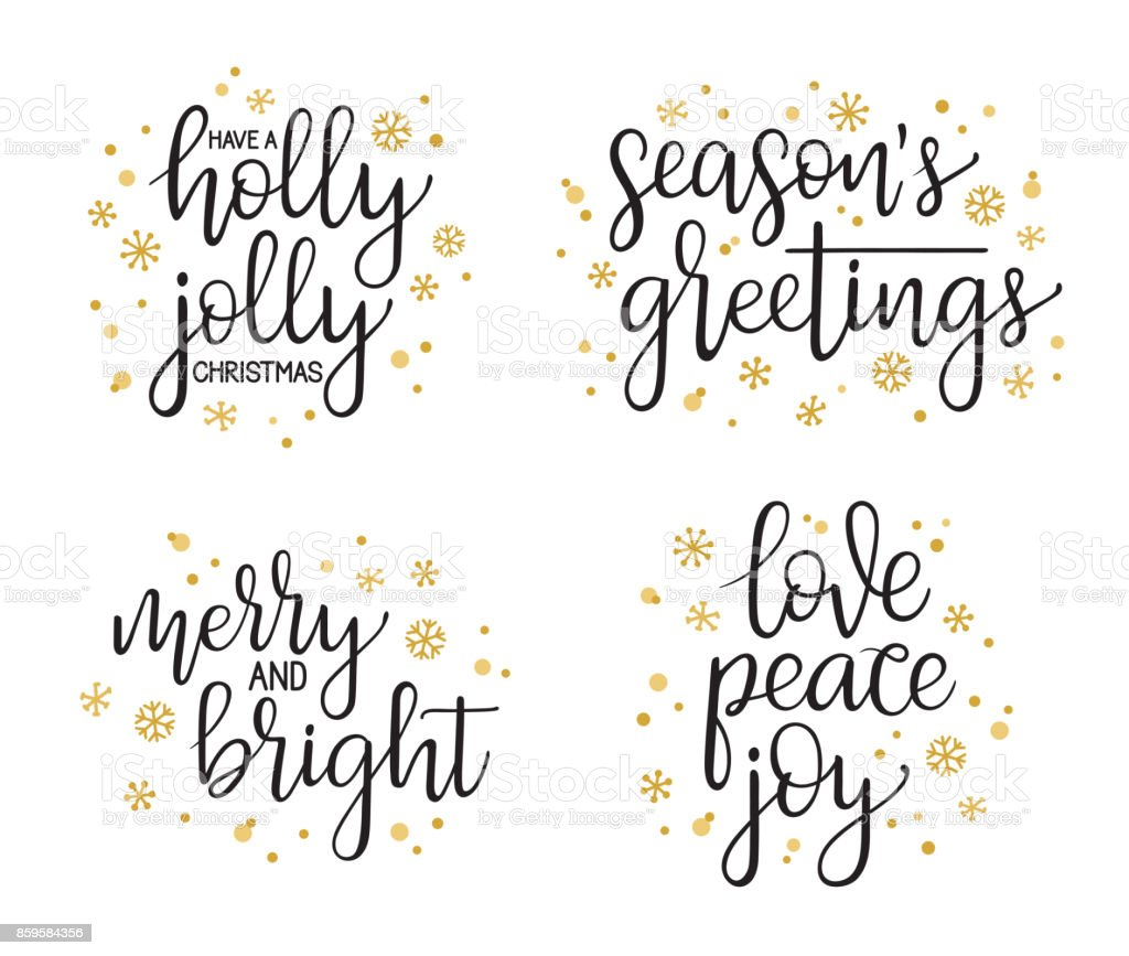 Christmas modern calligraphy set vector art illustration