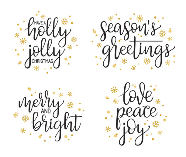 christmas modern calligraphy set - cheerful stock illustrations
