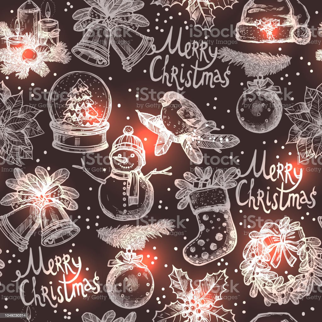 Christmas Monochrome Sketch Seamless Pattern Stock Vector Art More