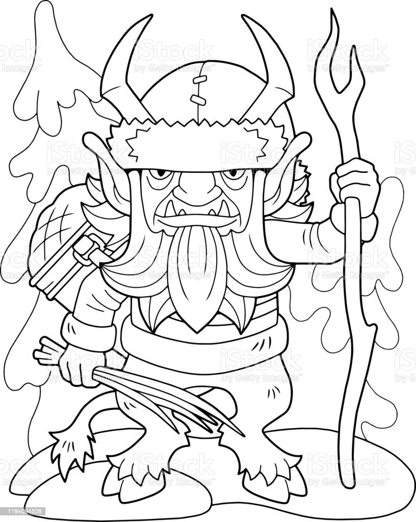 Christmas Monster Krampus Coloring Book Funny Illustration Stock