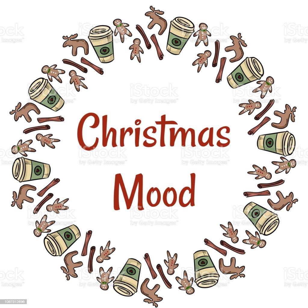 Weihnachtsgebäck Clipart.Stimmung Weihnachtsgebäck Und Kaffeekranz Stock Vektor Art Und Mehr