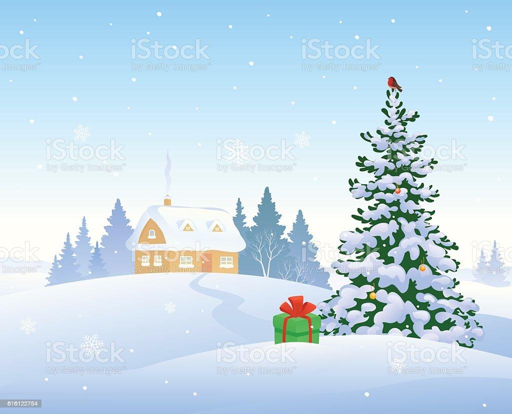 Christmas house with snow art - Christmas Morning House Royalty Free Stock Vector Art