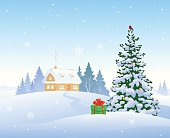 Vector illustration of a beautiful winter morning with a snow covered house and a Christmas tree.