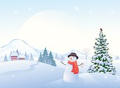 Vector cartoon illustration of a beautiful winter morning landscape and a greeting snowman.