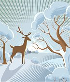 Christmas festive snow scene in traditional cross hatch style. EPS 10 file, CS3 version in zip