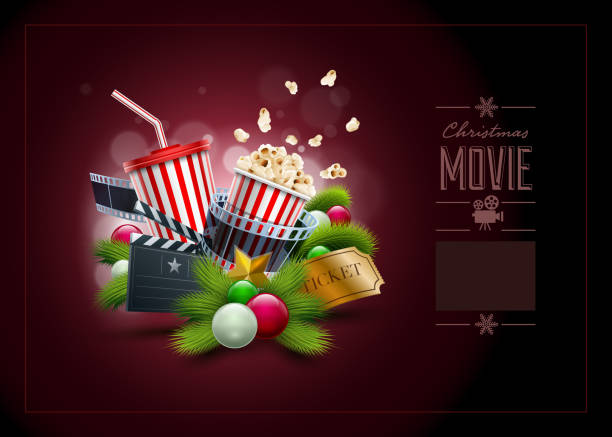 illustrazioni stock, clip art, cartoni animati e icone di tendenza di concetto di natale film - christmas movie