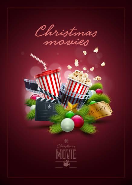 illustrazioni stock, clip art, cartoni animati e icone di tendenza di concetto di natale film - christmas movie