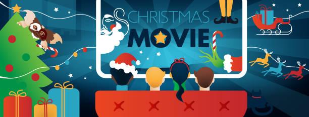 illustrazioni stock, clip art, cartoni animati e icone di tendenza di natale film copertina facebook, festa tv per bambini. - christmas movie