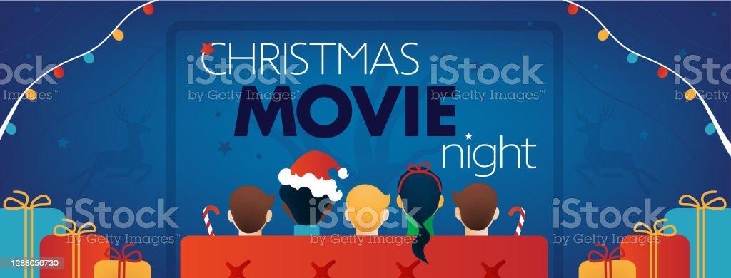 Copertina Facebook della notte del film di Natale, festa tv per bambini. - arte vettoriale royalty-free di 2021