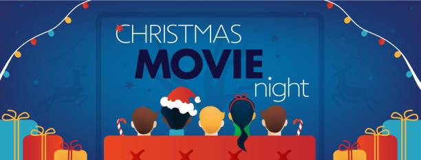 illustrazioni stock, clip art, cartoni animati e icone di tendenza di copertina facebook della notte del film di natale, festa tv per bambini. - christmas movie