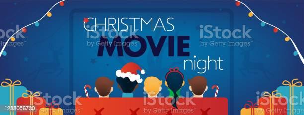 Copertina Facebook Della Notte Del Film Di Natale Festa Tv Per Bambini - Immagini vettoriali stock e altre immagini di 2021