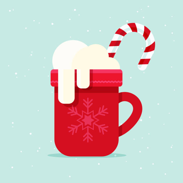 Christmas Mug Coffee mug with marshmallows and candy cane. Flat design style. hot chocolate stock illustrations