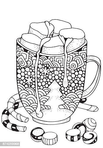Christmas Mug With Hot Chocolate And Marshmallow Christmas ...