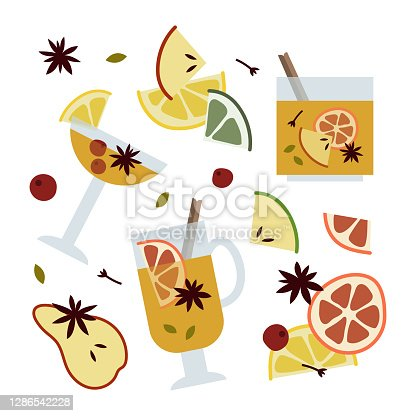istock Christmas mulled white wine with citrus fruit, apple, cinnamon, clove, cardamom, anise. Winter hot drink. Sangria, apple cider. Traditional xmas beverage. Vector flat cartoon illustration 1286542228