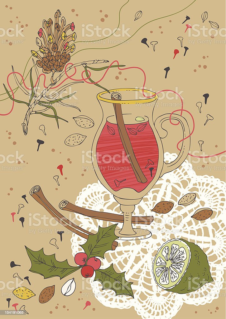 Christmas Mulled Wine royalty-free stock vector art