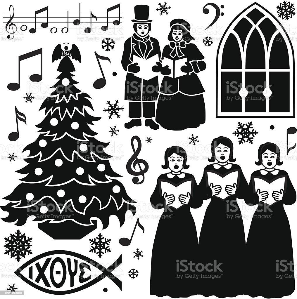 Christmas music design elements vector art illustration