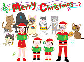Christmas concert of family and animals. Animals celebrate Christmas by playing and singing instruments.