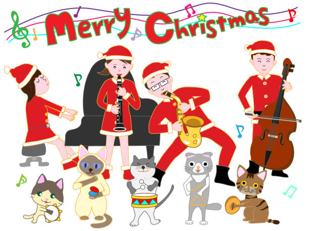 Christmas Music Clipart.Best Christmas Music Illustrations Royalty Free Vector