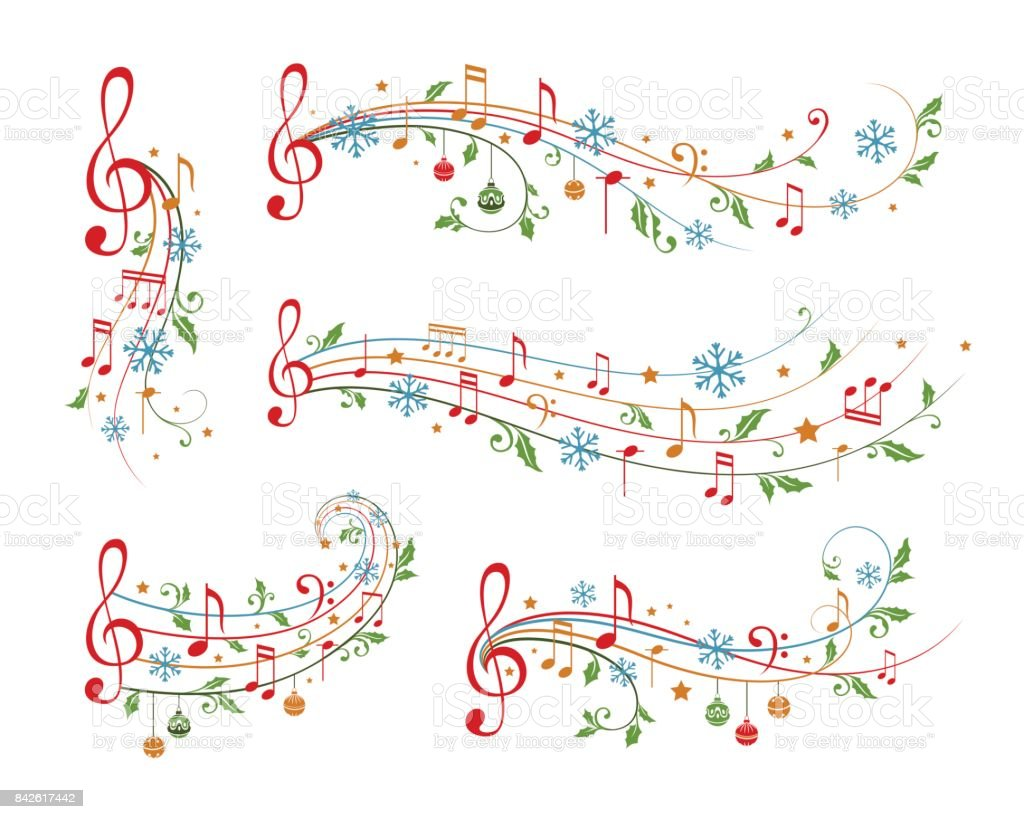 Christmas musical decoration elements. Winter holiday dividers. vector art illustration