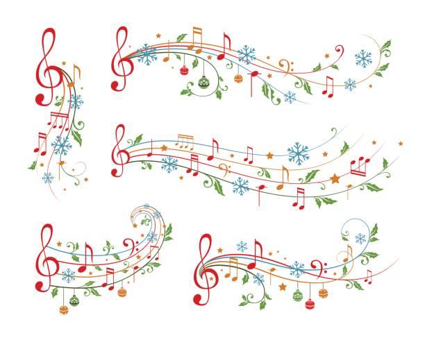 stockillustraties, clipart, cartoons en iconen met kerst muzikale decoratie elementen. winter vakantie scheidingslijnen. - zingen