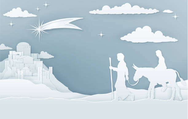 Christmas Nativity Mary Joseph and Bethlehem A Christmas Nativity illustration of Mary and Joseph on their journey with shooting star and city of Bethlehem in the background. Vintage paper art style. nativity silhouette stock illustrations