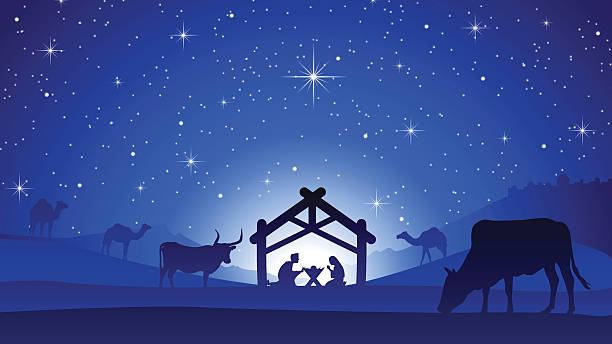 Christmas Nativity.Best Nativity Scene Illustrations Royalty Free Vector