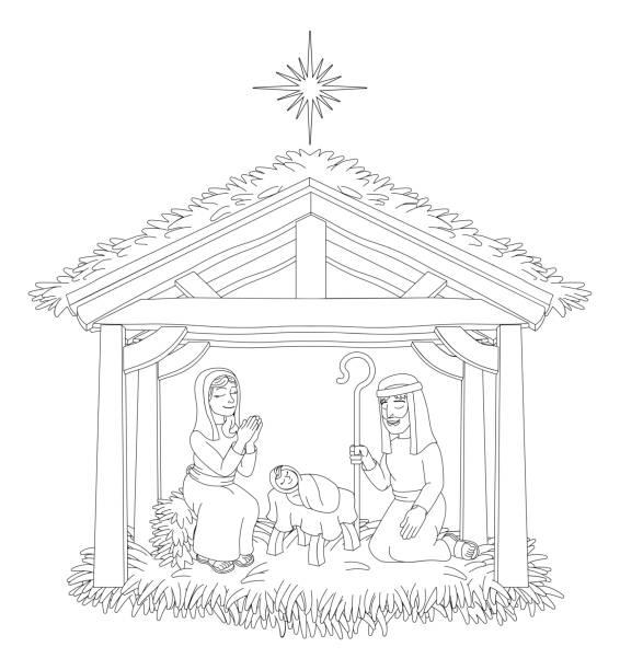 christmas nativity scene cartoon coloring - clip art of a black and white barn stock illustrations, clip art, cartoons, & icons