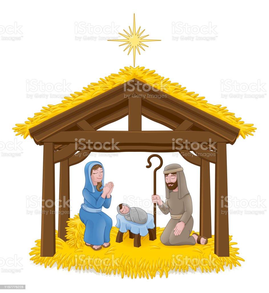 Weihnachten Krippe Bilder.Weihnachten Krippe Cartoon Stock Vektor Art Und Mehr Bilder Von Baby