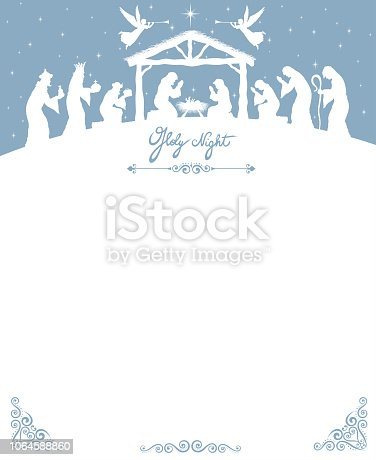 White Silhouette Nativity scene with Magi and Shepherds