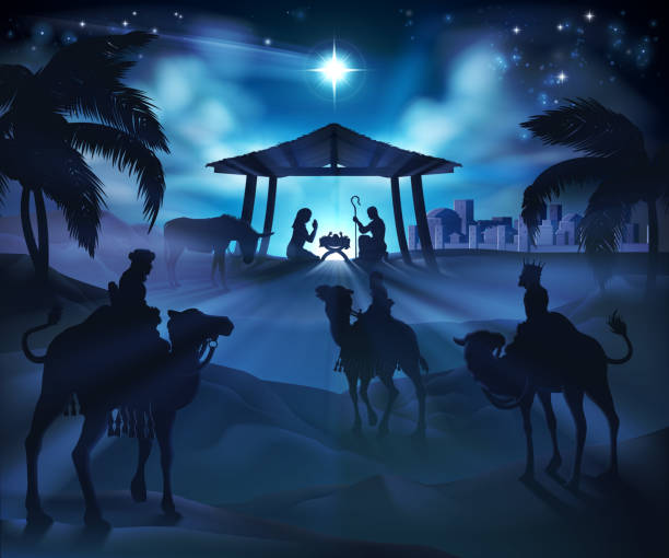 Christmas Nativity Scene Christmas nativity scene, baby Jesus, Mary and Joseph in manger. Bethlehem in background. 3 Wise Men riding camels in silhouette to pay homage. The star above stable. Christian religious illustration. trough stock illustrations