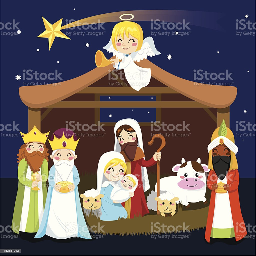 photograph regarding Nativity Clipart Free Printable known as Great Nativity Scene Examples, Royalty-Cost-free Vector